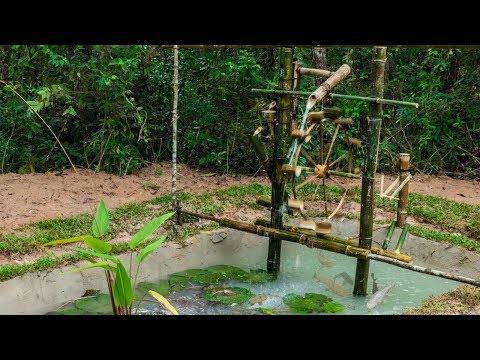 Primitive Technology: Build Water Wheel Fish Pond Full Part