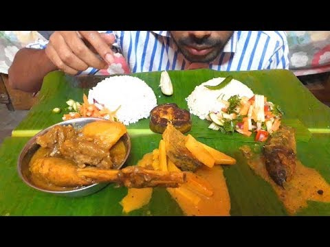 Massive primitive style lunch || Koi fish hilsha fish chicken curry with rice || eating show