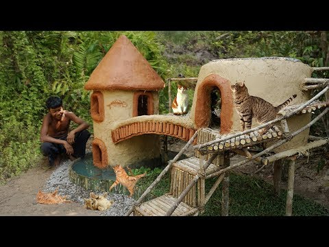 Collect Homeless Kitties and Build Mud Cat House on Round Fish Pond