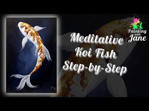 Meditative Koi Fish – Step by Step Acrylic Painting on Canvas for Beginners