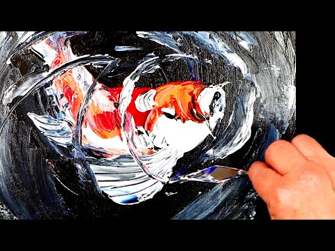Beautiful Koi Fish / Palette Knife Painting Demo / Abstract Acrylic