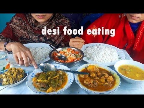 eating very spicy chicken curry , tengra & koi fish curry, cabbage,pulse with rice || Bengali food