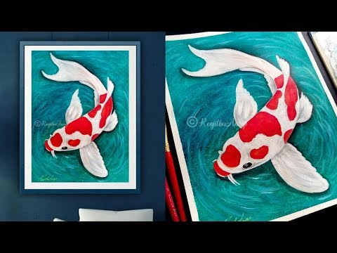 step by step Koi Fish acrylic painting || simple and easy acrylic painting on Canvas for beginners