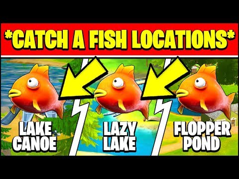 CATCH A FISH AT LAKE CANOE, LAZY LAKE, AND FLOPPER POND Locations  (Fortnite Cameo VS Chic)