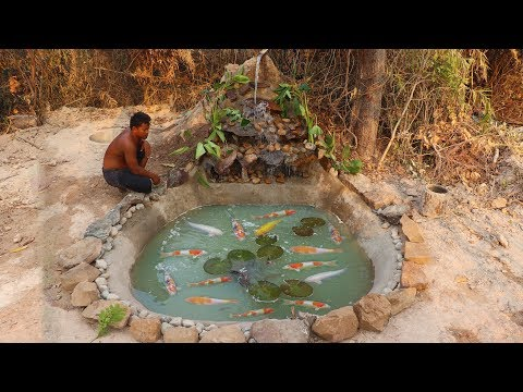 How to build a fish pond, beautiful waterfall