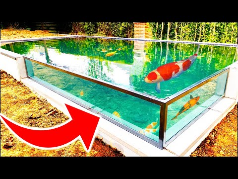 Building Most Amazing Fish Pond With Window In 4 Weeks *DIY KOI POND