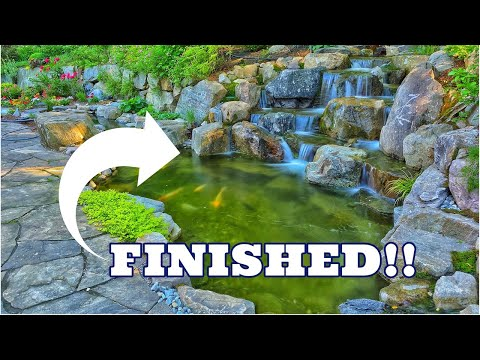 LARGE BOULDER WATERFALL into Garden Pond | FINISHED