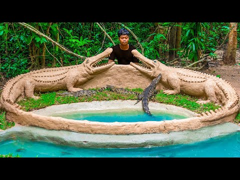 Build the Most Amazing Crocodile Swimming Pool And Build Fish Pond