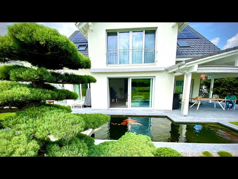 Beautiful Modern Backyard Fish Pond And Garden!
