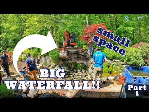 Multiple CASCADING WATERFALL in a Small Backyard Space | Part 1